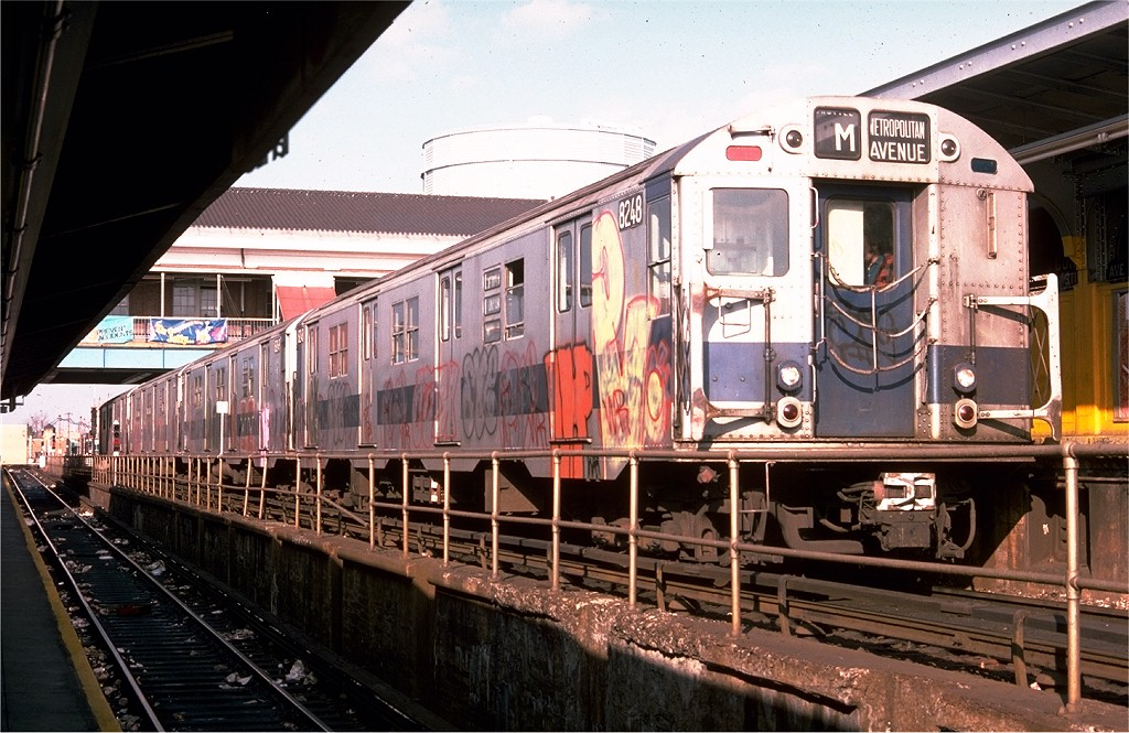 (222k, 1024x665)<br><b>Country:</b> United States<br><b>City:</b> New York<br><b>System:</b> New York City Transit<br><b>Location:</b> Coney Island/Stillwell Avenue<br><b>Route:</b> M<br><b>Car:</b> R-27 (St. Louis, 1960)  8248 <br><b>Photo by:</b> Ed McKernan<br><b>Collection of:</b> Joe Testagrose<br><b>Date:</b> 11/28/1975<br><b>Viewed (this week/total):</b> 5 / 4530