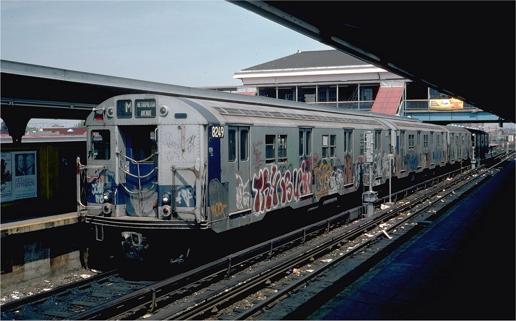 (194k, 1024x636)<br><b>Country:</b> United States<br><b>City:</b> New York<br><b>System:</b> New York City Transit<br><b>Location:</b> Coney Island/Stillwell Avenue<br><b>Route:</b> M<br><b>Car:</b> R-27 (St. Louis, 1960)  8249 <br><b>Photo by:</b> Steve Zabel<br><b>Collection of:</b> Joe Testagrose<br><b>Date:</b> 5/6/1976<br><b>Viewed (this week/total):</b> 0 / 3544