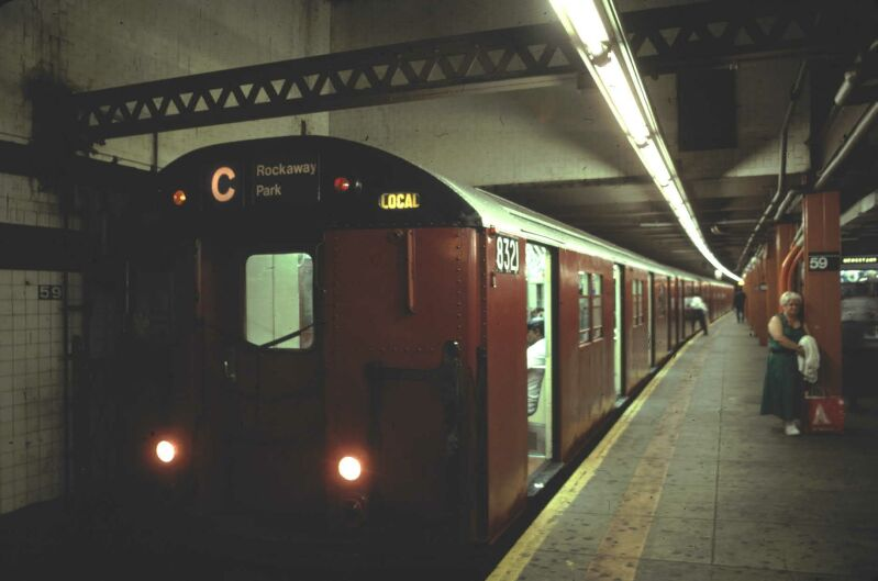 (45k, 799x529)<br><b>Country:</b> United States<br><b>City:</b> New York<br><b>System:</b> New York City Transit<br><b>Line:</b> IND 8th Avenue Line<br><b>Location:</b> 59th Street/Columbus Circle <br><b>Route:</b> C<br><b>Car:</b> R-30 (St. Louis, 1961) 8321 <br><b>Photo by:</b> Glenn L. Rowe<br><b>Date:</b> 5/17/1991<br><b>Viewed (this week/total):</b> 6 / 5423