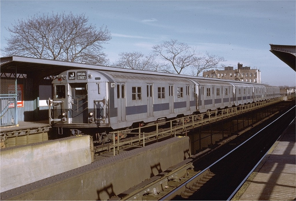 (250k, 1024x697)<br><b>Country:</b> United States<br><b>City:</b> New York<br><b>System:</b> New York City Transit<br><b>Line:</b> BMT Nassau Street/Jamaica Line<br><b>Location:</b> 75th Street/Elderts Lane <br><b>Route:</b> J<br><b>Car:</b> R-30 (St. Louis, 1961) 8372 <br><b>Photo by:</b> Joe Testagrose<br><b>Date:</b> 1/21/1973<br><b>Viewed (this week/total):</b> 5 / 3508