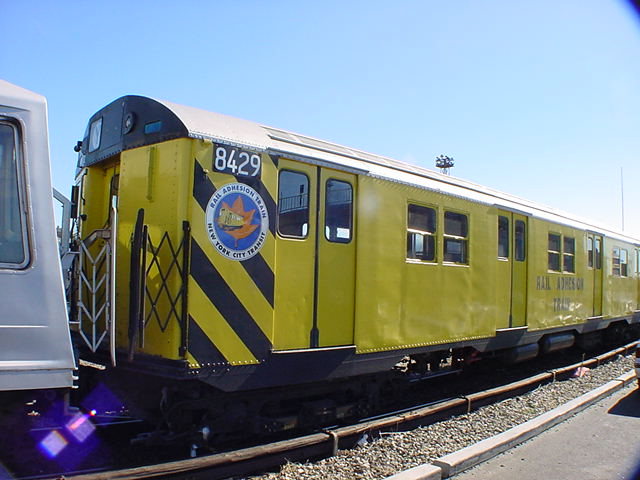 (62k, 640x480)<br><b>Country:</b> United States<br><b>City:</b> New York<br><b>System:</b> New York City Transit<br><b>Location:</b> Coney Island Yard<br><b>Car:</b> Rail Adhesion Train (R-30/R-33 Rebuilds) 8429 <br><b>Photo by:</b> Salaam Allah<br><b>Date:</b> 10/29/2000<br><b>Notes:</b> Rail adhesion train<br><b>Viewed (this week/total):</b> 14 / 7357