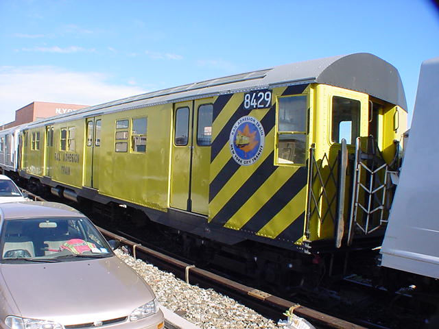 (61k, 640x480)<br><b>Country:</b> United States<br><b>City:</b> New York<br><b>System:</b> New York City Transit<br><b>Location:</b> Coney Island Yard<br><b>Car:</b> Rail Adhesion Train (R-30/R-33 Rebuilds) 8429 <br><b>Photo by:</b> Salaam Allah<br><b>Date:</b> 10/29/2000<br><b>Notes:</b> Rail adhesion train<br><b>Viewed (this week/total):</b> 9 / 6791