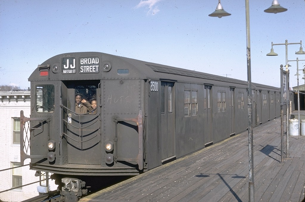 (198k, 1024x680)<br><b>Country:</b> United States<br><b>City:</b> New York<br><b>System:</b> New York City Transit<br><b>Line:</b> BMT Nassau Street/Jamaica Line<br><b>Location:</b> Crescent Street <br><b>Route:</b> JJ<br><b>Car:</b> R-30 (St. Louis, 1961) 8500 <br><b>Photo by:</b> Doug Grotjahn<br><b>Collection of:</b> Joe Testagrose<br><b>Date:</b> 3/24/1968<br><b>Viewed (this week/total):</b> 3 / 6573