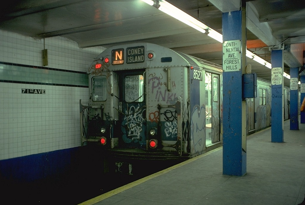 (181k, 1024x688)<br><b>Country:</b> United States<br><b>City:</b> New York<br><b>System:</b> New York City Transit<br><b>Line:</b> IND Queens Boulevard Line<br><b>Location:</b> 71st/Continental Aves./Forest Hills <br><b>Route:</b> N<br><b>Car:</b> R-30 (St. Louis, 1961) 8527 <br><b>Photo by:</b> Doug Grotjahn<br><b>Collection of:</b> Joe Testagrose<br><b>Date:</b> 2/9/1978<br><b>Viewed (this week/total):</b> 1 / 5444