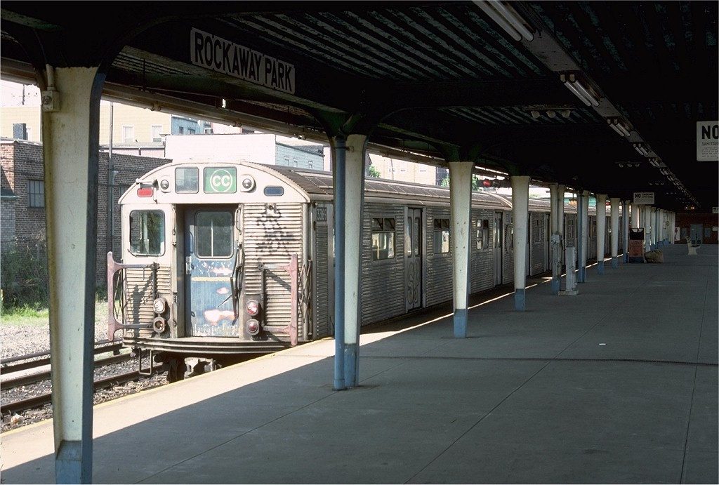 (183k, 1024x691)<br><b>Country:</b> United States<br><b>City:</b> New York<br><b>System:</b> New York City Transit<br><b>Line:</b> IND Rockaway<br><b>Location:</b> Rockaway Park/Beach 116th Street <br><b>Route:</b> CC<br><b>Car:</b> R-32 (Budd, 1964)  3369 <br><b>Photo by:</b> Doug Grotjahn<br><b>Collection of:</b> Joe Testagrose<br><b>Date:</b> 6/3/1977<br><b>Viewed (this week/total):</b> 4 / 4637