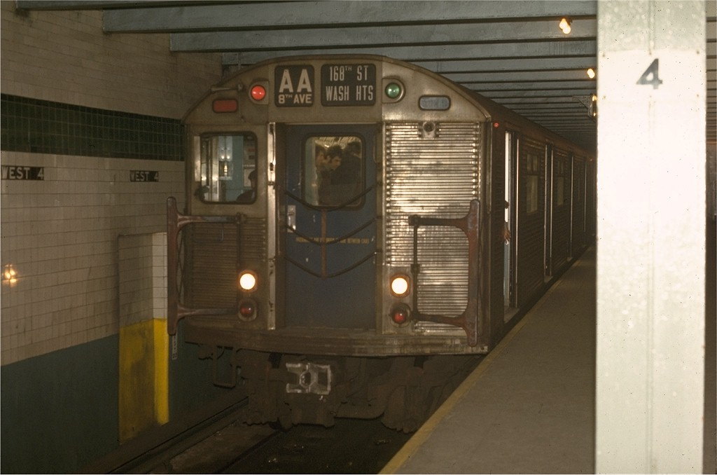 (133k, 1024x678)<br><b>Country:</b> United States<br><b>City:</b> New York<br><b>System:</b> New York City Transit<br><b>Line:</b> IND 8th Avenue Line<br><b>Location:</b> West 4th Street/Washington Square <br><b>Route:</b> AA<br><b>Car:</b> R-32 (Budd, 1964)  3391 <br><b>Photo by:</b> Joe Testagrose<br><b>Date:</b> 5/6/1970<br><b>Viewed (this week/total):</b> 5 / 4001