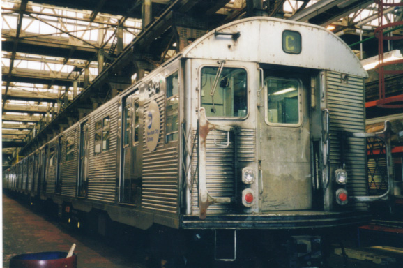 (116k, 578x384)<br><b>Country:</b> United States<br><b>City:</b> New York<br><b>System:</b> New York City Transit<br><b>Location:</b> 207th Street Shop<br><b>Car:</b> R-32 (Budd, 1964)  3414 <br><b>Photo by:</b> Al Voci<br><b>Date:</b> 2000<br><b>Viewed (this week/total):</b> 2 / 3622