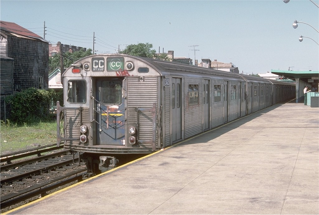 (202k, 1024x691)<br><b>Country:</b> United States<br><b>City:</b> New York<br><b>System:</b> New York City Transit<br><b>Line:</b> IND Rockaway<br><b>Location:</b> Rockaway Park/Beach 116th Street <br><b>Route:</b> CC<br><b>Car:</b> R-32 (Budd, 1964)  3423 <br><b>Photo by:</b> Doug Grotjahn<br><b>Collection of:</b> Joe Testagrose<br><b>Date:</b> 6/30/1977<br><b>Viewed (this week/total):</b> 0 / 3744
