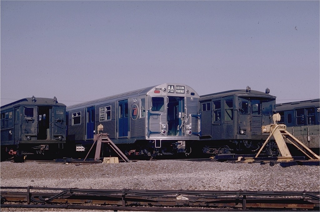 (203k, 1024x681)<br><b>Country:</b> United States<br><b>City:</b> New York<br><b>System:</b> New York City Transit<br><b>Location:</b> Coney Island Yard<br><b>Car:</b> R-32 (Budd, 1964)  3424 <br><b>Photo by:</b> Joel Shanus<br><b>Collection of:</b> Joe Testagrose<br><b>Date:</b> 10/25/1964<br><b>Viewed (this week/total):</b> 2 / 3604