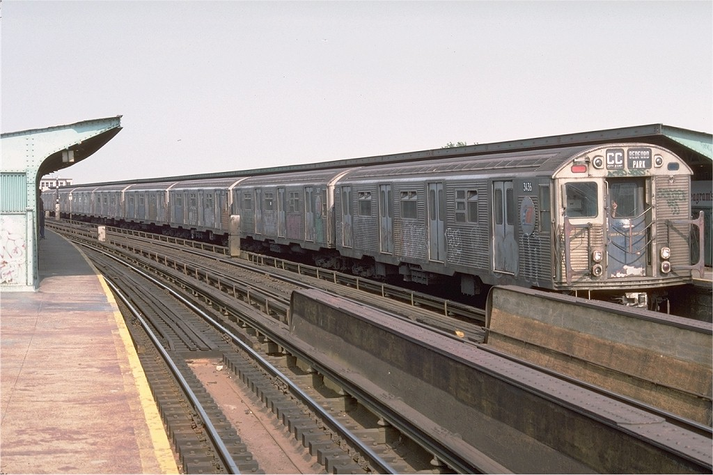 (191k, 1024x682)<br><b>Country:</b> United States<br><b>City:</b> New York<br><b>System:</b> New York City Transit<br><b>Line:</b> IND Fulton Street Line<br><b>Location:</b> Rockaway Boulevard <br><b>Route:</b> CC<br><b>Car:</b> R-32 (Budd, 1964)  3436 <br><b>Photo by:</b> Doug Grotjahn<br><b>Collection of:</b> Joe Testagrose<br><b>Date:</b> 6/30/1977<br><b>Viewed (this week/total):</b> 2 / 3194