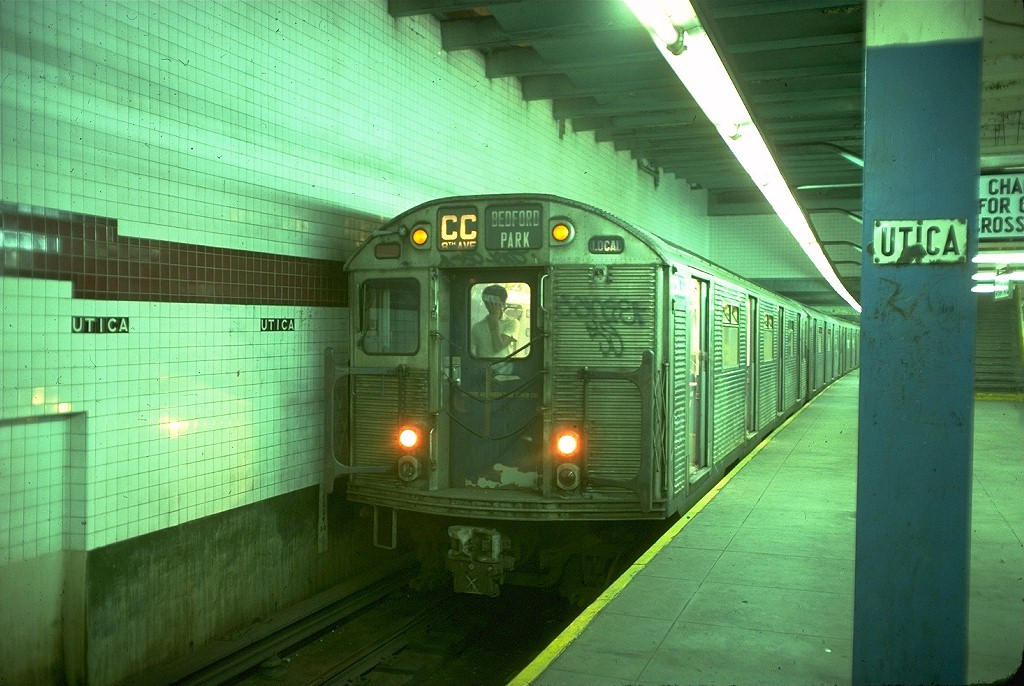 (203k, 1024x686)<br><b>Country:</b> United States<br><b>City:</b> New York<br><b>System:</b> New York City Transit<br><b>Line:</b> IND Fulton Street Line<br><b>Location:</b> Utica Avenue <br><b>Route:</b> CC<br><b>Car:</b> R-32 (Budd, 1964)  3436 <br><b>Photo by:</b> Doug Grotjahn<br><b>Collection of:</b> Joe Testagrose<br><b>Date:</b> 6/30/1977<br><b>Viewed (this week/total):</b> 3 / 4415