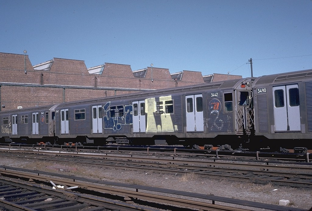 (242k, 1024x692)<br><b>Country:</b> United States<br><b>City:</b> New York<br><b>System:</b> New York City Transit<br><b>Location:</b> Coney Island Yard<br><b>Car:</b> R-32 (Budd, 1964)  3442 <br><b>Photo by:</b> Steve Zabel<br><b>Collection of:</b> Joe Testagrose<br><b>Date:</b> 3/18/1974<br><b>Viewed (this week/total):</b> 1 / 4405