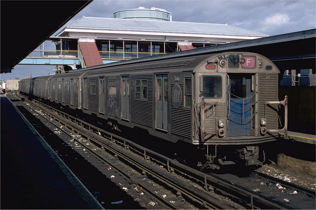 (210k, 1024x682)<br><b>Country:</b> United States<br><b>City:</b> New York<br><b>System:</b> New York City Transit<br><b>Location:</b> Coney Island/Stillwell Avenue<br><b>Route:</b> F<br><b>Car:</b> R-32 (Budd, 1964)  3446 <br><b>Photo by:</b> Doug Grotjahn<br><b>Collection of:</b> Joe Testagrose<br><b>Date:</b> 10/26/1980<br><b>Viewed (this week/total):</b> 4 / 4620