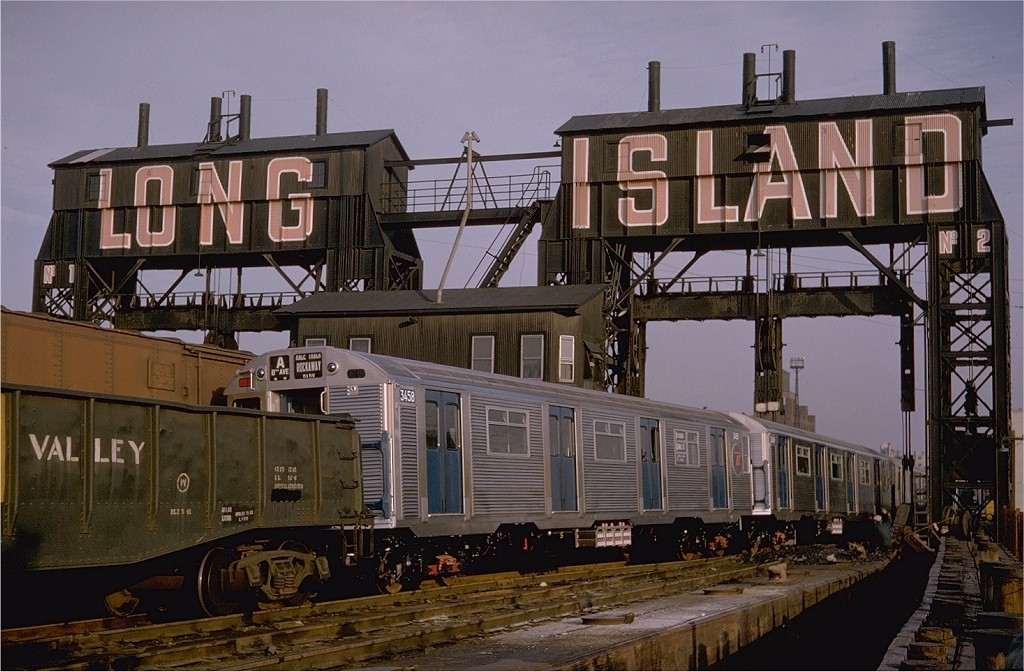 (206k, 1024x672)<br><b>Country:</b> United States<br><b>City:</b> New York<br><b>System:</b> Long Island Rail Road<br><b>Line:</b> LIRR Long Island City<br><b>Location:</b> Long Island City <br><b>Car:</b> R-32 (Budd, 1964)  3458 <br><b>Photo by:</b> Gerald H. Landau<br><b>Collection of:</b> Joe Testagrose<br><b>Date:</b> 11/1964<br><b>Viewed (this week/total):</b> 13 / 5189