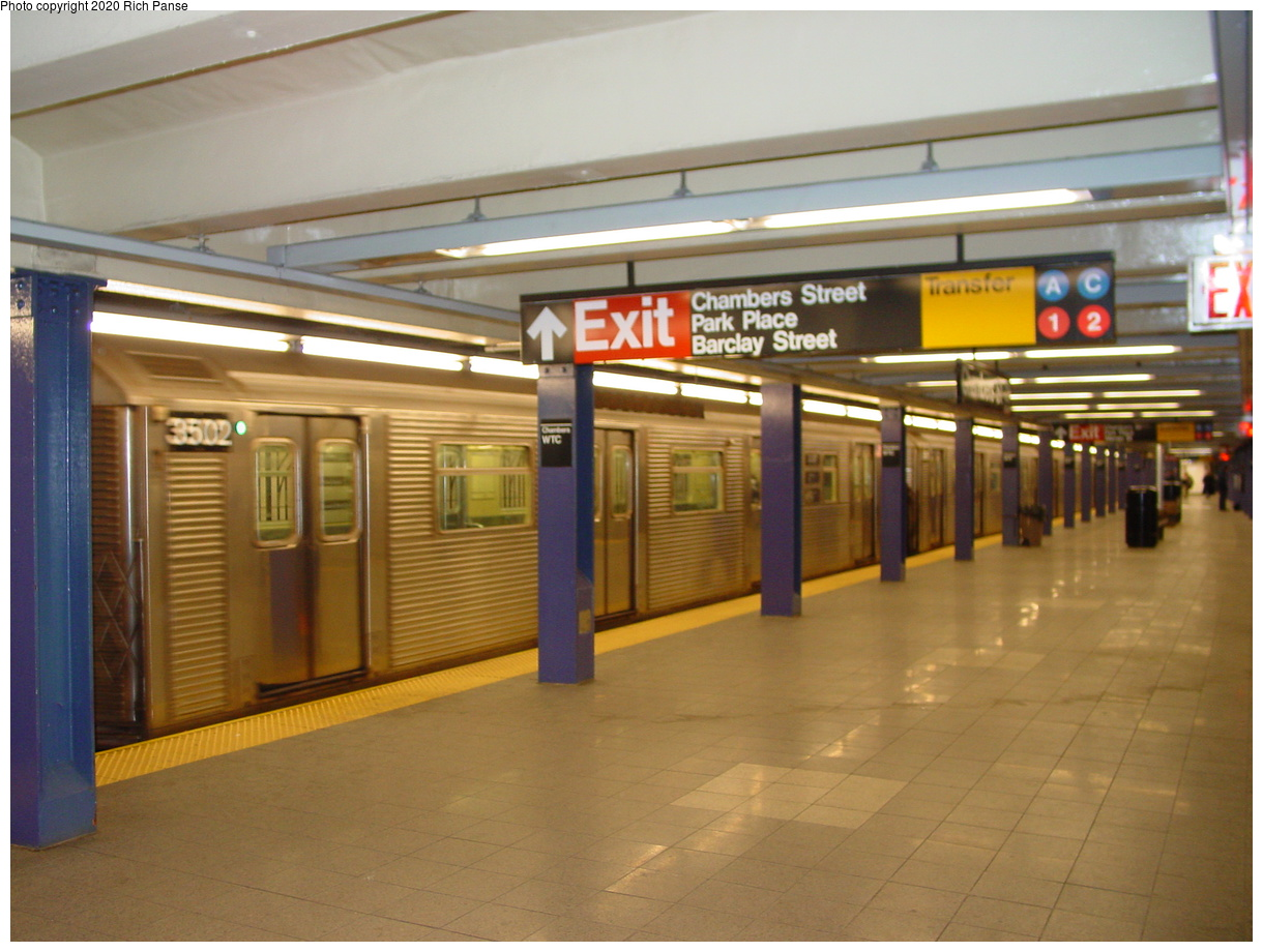 (66k, 820x620)<br><b>Country:</b> United States<br><b>City:</b> New York<br><b>System:</b> New York City Transit<br><b>Line:</b> IND 8th Avenue Line<br><b>Location:</b> Chambers Street/World Trade Center <br><b>Car:</b> R-32 (Budd, 1964)  3502 <br><b>Photo by:</b> Richard Panse<br><b>Date:</b> 2/9/2002<br><b>Viewed (this week/total):</b> 2 / 7283