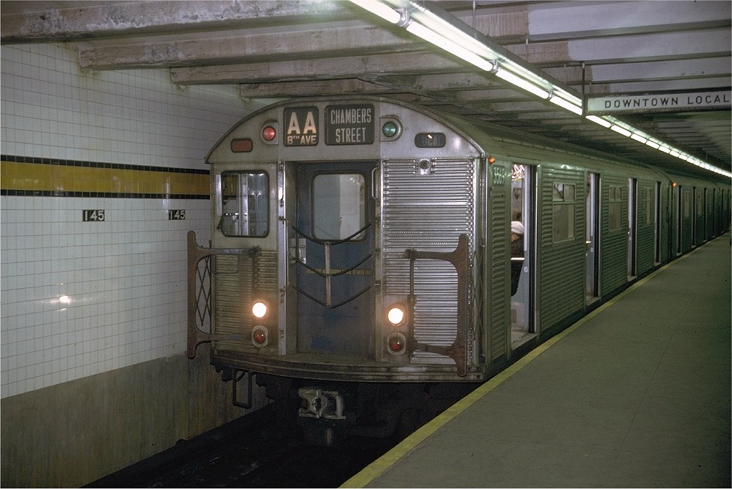 (201k, 1024x684)<br><b>Country:</b> United States<br><b>City:</b> New York<br><b>System:</b> New York City Transit<br><b>Line:</b> IND 8th Avenue Line<br><b>Location:</b> 145th Street <br><b>Route:</b> AA<br><b>Car:</b> R-32 (Budd, 1964)  3569 <br><b>Photo by:</b> Joe Testagrose<br><b>Date:</b> 11/29/1970<br><b>Viewed (this week/total):</b> 5 / 4036