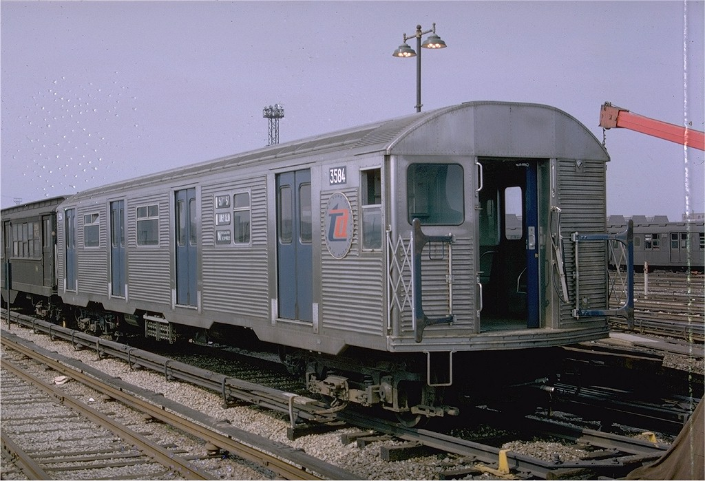 (213k, 1024x699)<br><b>Country:</b> United States<br><b>City:</b> New York<br><b>System:</b> New York City Transit<br><b>Location:</b> Coney Island Yard<br><b>Car:</b> R-32 (Budd, 1964)  3584 <br><b>Photo by:</b> Doug Grotjahn<br><b>Collection of:</b> Joe Testagrose<br><b>Date:</b> 5/1965<br><b>Viewed (this week/total):</b> 0 / 2877