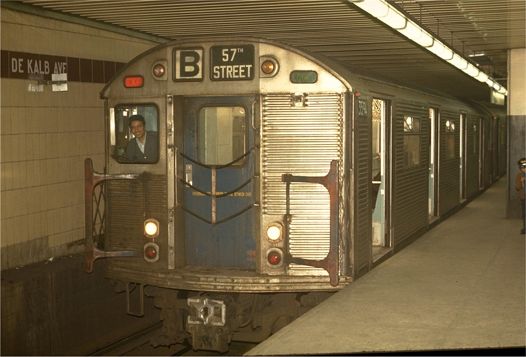(184k, 1024x695)<br><b>Country:</b> United States<br><b>City:</b> New York<br><b>System:</b> New York City Transit<br><b>Location:</b> DeKalb Avenue<br><b>Route:</b> B<br><b>Car:</b> R-32 (Budd, 1964)  3594 <br><b>Photo by:</b> Joe Testagrose<br><b>Date:</b> 5/1/1970<br><b>Viewed (this week/total):</b> 3 / 4074