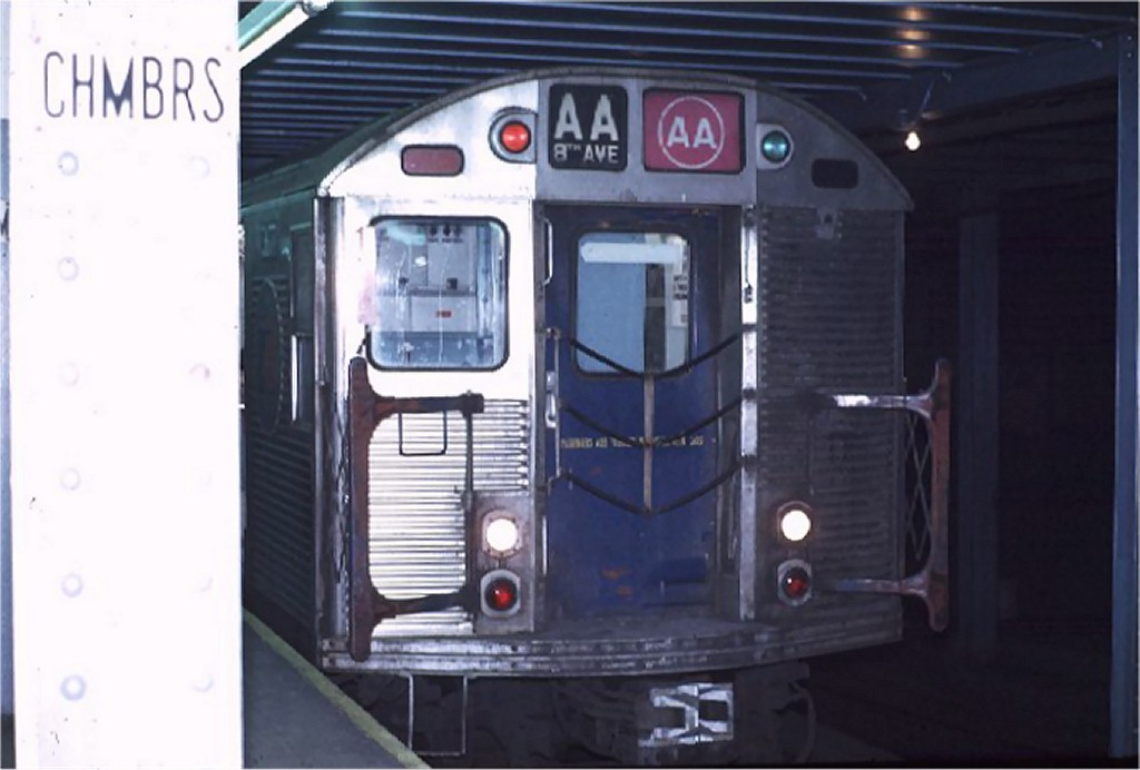 (120k, 1024x692)<br><b>Country:</b> United States<br><b>City:</b> New York<br><b>System:</b> New York City Transit<br><b>Line:</b> IND 8th Avenue Line<br><b>Location:</b> Chambers Street/World Trade Center <br><b>Route:</b> AA<br><b>Car:</b> R-32 (Budd, 1964)  3617 <br><b>Photo by:</b> Joe Testagrose<br><b>Date:</b> 11/25/1970<br><b>Viewed (this week/total):</b> 1 / 2821