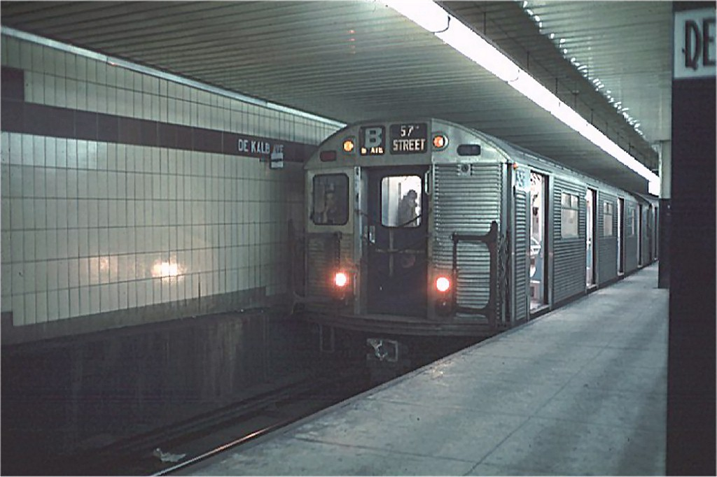 (136k, 1024x682)<br><b>Country:</b> United States<br><b>City:</b> New York<br><b>System:</b> New York City Transit<br><b>Location:</b> DeKalb Avenue<br><b>Route:</b> B<br><b>Car:</b> R-32 (Budd, 1964)  3639 <br><b>Photo by:</b> Doug Grotjahn<br><b>Collection of:</b> Joe Testagrose<br><b>Date:</b> 11/21/1968<br><b>Viewed (this week/total):</b> 3 / 4152