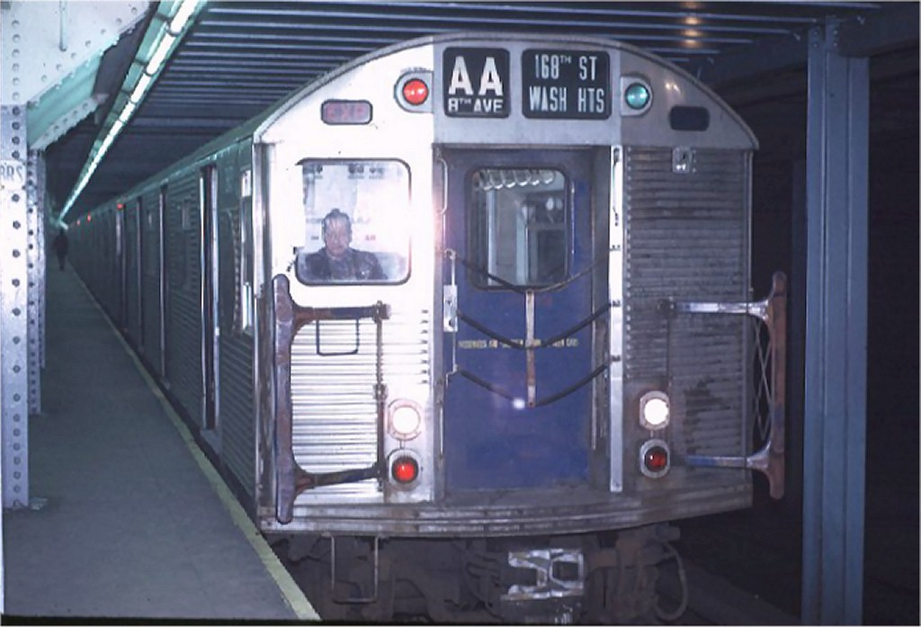 (137k, 1024x697)<br><b>Country:</b> United States<br><b>City:</b> New York<br><b>System:</b> New York City Transit<br><b>Line:</b> IND 8th Avenue Line<br><b>Location:</b> Chambers Street/World Trade Center <br><b>Route:</b> AA<br><b>Car:</b> R-32 (Budd, 1964)  3643 <br><b>Photo by:</b> Joe Testagrose<br><b>Date:</b> 11/25/1970<br><b>Viewed (this week/total):</b> 0 / 3419