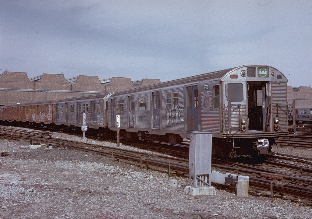 (250k, 1024x719)<br><b>Country:</b> United States<br><b>City:</b> New York<br><b>System:</b> New York City Transit<br><b>Location:</b> Coney Island Yard<br><b>Car:</b> R-32 (Budd, 1964)  3678 <br><b>Photo by:</b> Steve Zabel<br><b>Collection of:</b> Joe Testagrose<br><b>Date:</b> 3/9/1973<br><b>Viewed (this week/total):</b> 0 / 2993