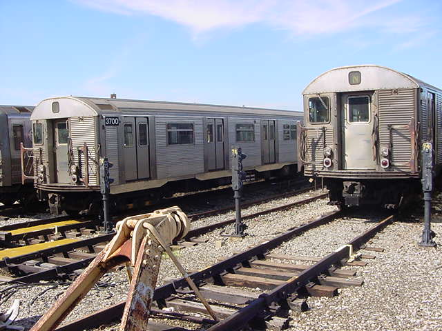 (61k, 640x480)<br><b>Country:</b> United States<br><b>City:</b> New York<br><b>System:</b> New York City Transit<br><b>Location:</b> Coney Island Yard<br><b>Car:</b> R-32 (Budd, 1964)  3700 <br><b>Photo by:</b> Salaam Allah<br><b>Date:</b> 10/29/2000<br><b>Viewed (this week/total):</b> 0 / 3406