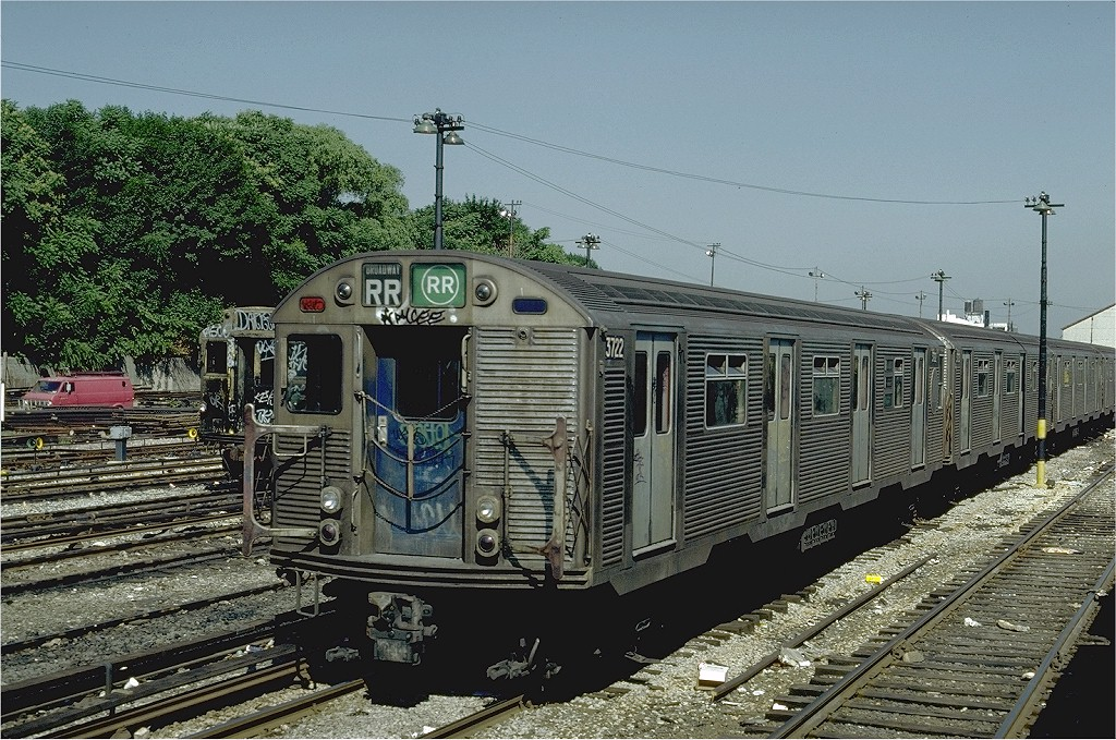 (270k, 1024x679)<br><b>Country:</b> United States<br><b>City:</b> New York<br><b>System:</b> New York City Transit<br><b>Location:</b> 36th Street Yard<br><b>Car:</b> R-32 (Budd, 1964)  3722 <br><b>Photo by:</b> Steve Zabel<br><b>Collection of:</b> Joe Testagrose<br><b>Date:</b> 6/18/1981<br><b>Viewed (this week/total):</b> 2 / 4667