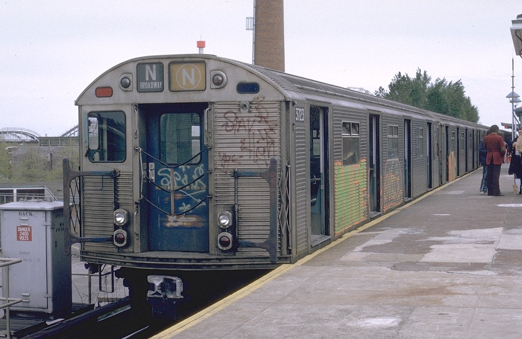 (196k, 1024x666)<br><b>Country:</b> United States<br><b>City:</b> New York<br><b>System:</b> New York City Transit<br><b>Location:</b> Coney Island/Stillwell Avenue<br><b>Route:</b> N<br><b>Car:</b> R-32 (Budd, 1964)  3723 <br><b>Photo by:</b> Joe Testagrose<br><b>Date:</b> 5/5/1974<br><b>Viewed (this week/total):</b> 0 / 3706