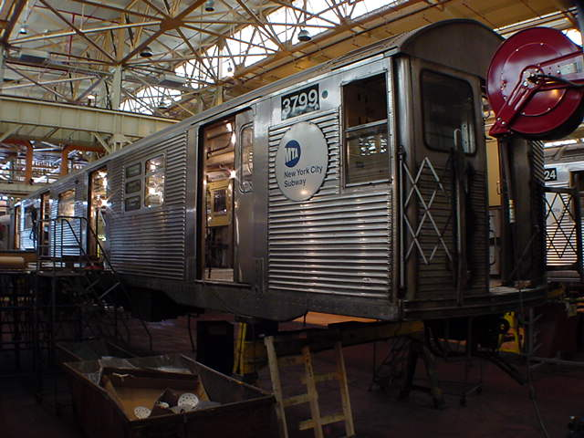 (59k, 640x480)<br><b>Country:</b> United States<br><b>City:</b> New York<br><b>System:</b> New York City Transit<br><b>Location:</b> Coney Island Shop/Overhaul & Repair Shop<br><b>Car:</b> R-32 (Budd, 1964)  3799 <br><b>Photo by:</b> Salaam Allah<br><b>Date:</b> 10/29/2000<br><b>Viewed (this week/total):</b> 0 / 3270