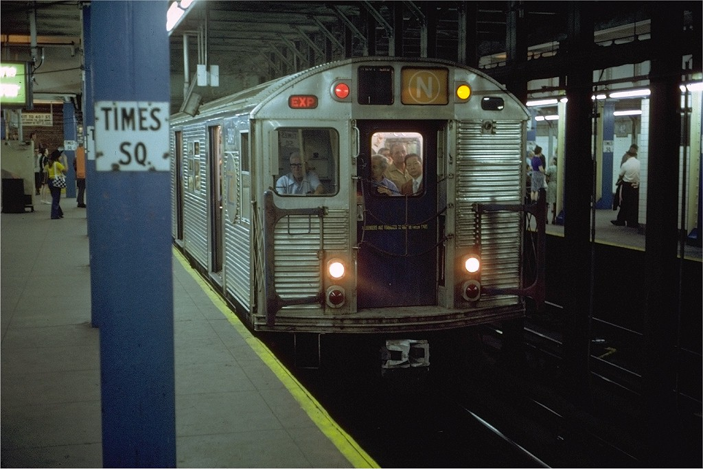 (194k, 1024x683)<br><b>Country:</b> United States<br><b>City:</b> New York<br><b>System:</b> New York City Transit<br><b>Line:</b> BMT Broadway Line<br><b>Location:</b> Times Square/42nd Street <br><b>Route:</b> N<br><b>Car:</b> R-32 (Budd, 1964)  3849 <br><b>Photo by:</b> Steve Zabel<br><b>Collection of:</b> Joe Testagrose<br><b>Date:</b> 6/4/1972<br><b>Viewed (this week/total):</b> 9 / 5667