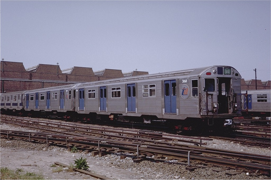 (248k, 1024x682)<br><b>Country:</b> United States<br><b>City:</b> New York<br><b>System:</b> New York City Transit<br><b>Location:</b> Coney Island Yard<br><b>Car:</b> R-32 (Budd, 1964)  3868 <br><b>Photo by:</b> Steve Zabel<br><b>Collection of:</b> Joe Testagrose<br><b>Date:</b> 6/7/1971<br><b>Viewed (this week/total):</b> 3 / 2892