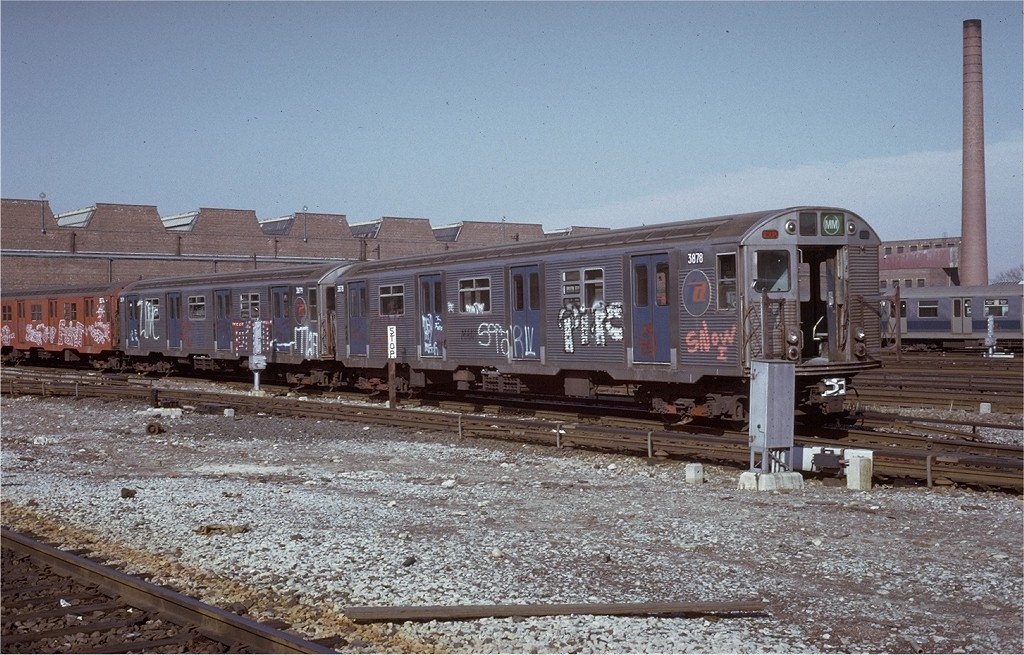 (231k, 1024x655)<br><b>Country:</b> United States<br><b>City:</b> New York<br><b>System:</b> New York City Transit<br><b>Location:</b> Coney Island Yard<br><b>Car:</b> R-32 (Budd, 1964)  3878 <br><b>Photo by:</b> Steve Zabel<br><b>Collection of:</b> Joe Testagrose<br><b>Date:</b> 3/9/1973<br><b>Viewed (this week/total):</b> 2 / 3908