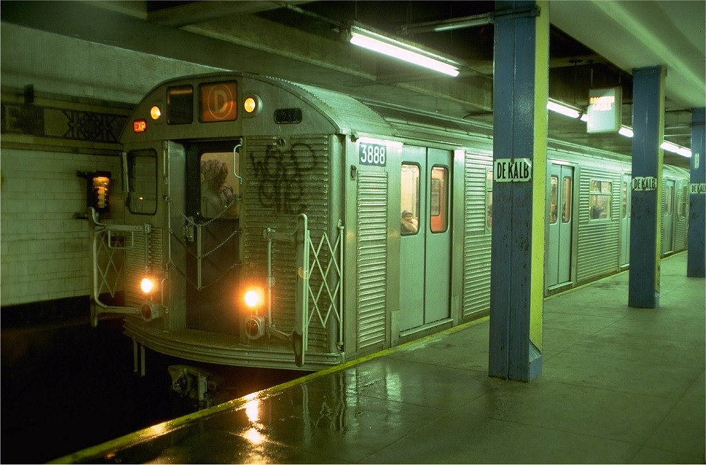 (186k, 1024x675)<br><b>Country:</b> United States<br><b>City:</b> New York<br><b>System:</b> New York City Transit<br><b>Location:</b> DeKalb Avenue<br><b>Route:</b> D<br><b>Car:</b> R-32 (Budd, 1964)  3888 <br><b>Photo by:</b> Doug Grotjahn<br><b>Collection of:</b> Joe Testagrose<br><b>Date:</b> 12/26/1976<br><b>Viewed (this week/total):</b> 3 / 7007