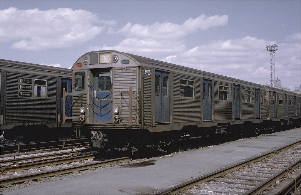(201k, 1024x664)<br><b>Country:</b> United States<br><b>City:</b> New York<br><b>System:</b> New York City Transit<br><b>Location:</b> Coney Island Yard<br><b>Car:</b> R-32 (Budd, 1964)  3905 <br><b>Photo by:</b> Steve Zabel<br><b>Collection of:</b> Joe Testagrose<br><b>Date:</b> 3/30/1971<br><b>Viewed (this week/total):</b> 1 / 2913