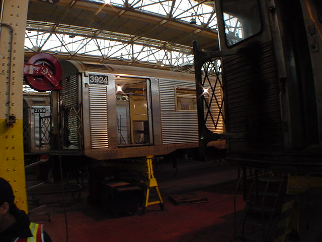 (59k, 640x480)<br><b>Country:</b> United States<br><b>City:</b> New York<br><b>System:</b> New York City Transit<br><b>Location:</b> Coney Island Shop/Overhaul & Repair Shop<br><b>Car:</b> R-32 (Budd, 1964)  3924 <br><b>Photo by:</b> Salaam Allah<br><b>Date:</b> 10/29/2000<br><b>Viewed (this week/total):</b> 0 / 2289