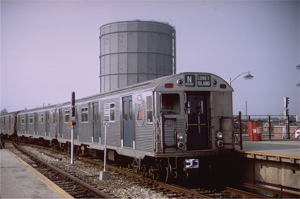 (184k, 1024x680)<br><b>Country:</b> United States<br><b>City:</b> New York<br><b>System:</b> New York City Transit<br><b>Location:</b> Coney Island/Stillwell Avenue<br><b>Route:</b> N<br><b>Car:</b> R-32 (Budd, 1964)  3947 <br><b>Photo by:</b> Doug Grotjahn<br><b>Collection of:</b> Joe Testagrose<br><b>Date:</b> 8/7/1967<br><b>Viewed (this week/total):</b> 0 / 3434