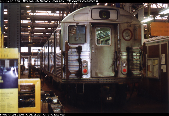 (122k, 640x440)<br><b>Country:</b> United States<br><b>City:</b> New York<br><b>System:</b> New York City Transit<br><b>Location:</b> 207th Street Shop<br><b>Car:</b> R-38 (St. Louis, 1966-1967)   <br><b>Photo by:</b> Jason R. DeCesare<br><b>Date:</b> 7/10/1998<br><b>Viewed (this week/total):</b> 0 / 3029