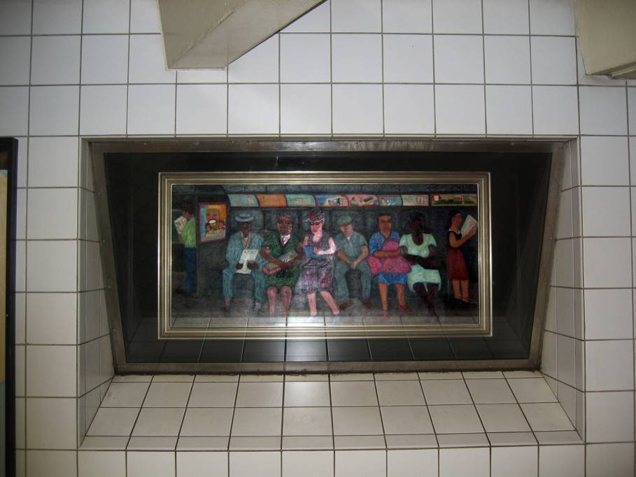 (63k, 909x682)<br><b>Country:</b> United States<br><b>City:</b> New York<br><b>System:</b> New York City Transit<br><b>Line:</b> IND Queens Boulevard Line<br><b>Location:</b> 5th Avenue/53rd Street <br><b>Photo by:</b> Robbie Rosenfeld<br><b>Date:</b> 7/15/2005<br><b>Artwork:</b> <i>Subway Riders</i>, Ralph Fasanella (1950).<br><b>Viewed (this week/total):</b> 2 / 3041