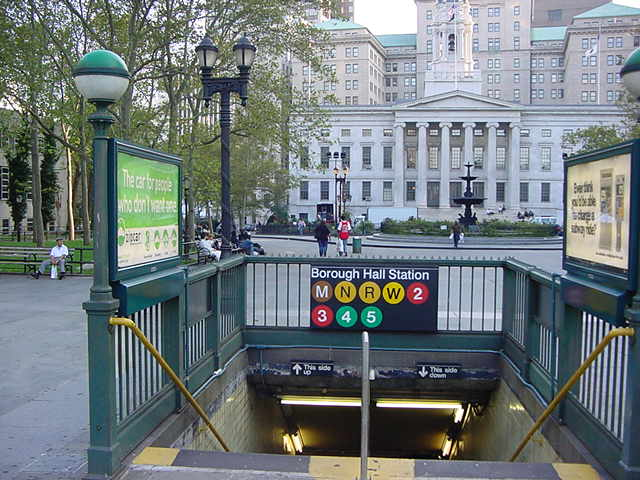 (60k, 640x480)<br><b>Country:</b> United States<br><b>City:</b> New York<br><b>System:</b> New York City Transit<br><b>Line:</b> IRT Brooklyn Line<br><b>Location:</b> Borough Hall (East Side Branch) <br><b>Photo by:</b> Salaam Allah<br><b>Date:</b> 9/28/2002<br><b>Notes:</b> Station entrance<br><b>Viewed (this week/total):</b> 5 / 5382