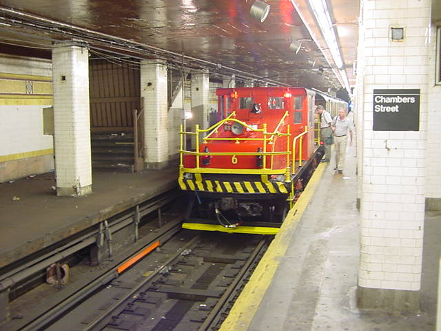 (59k, 640x480)<br><b>Country:</b> United States<br><b>City:</b> New York<br><b>System:</b> New York City Transit<br><b>Line:</b> BMT Nassau Street/Jamaica Line<br><b>Location:</b> Chambers Street <br><b>Route:</b> Fan Trip<br><b>Car:</b> SBK Steeplecab 6 <br><b>Photo by:</b> Salaam Allah<br><b>Date:</b> 9/22/2002<br><b>Viewed (this week/total):</b> 4 / 4342