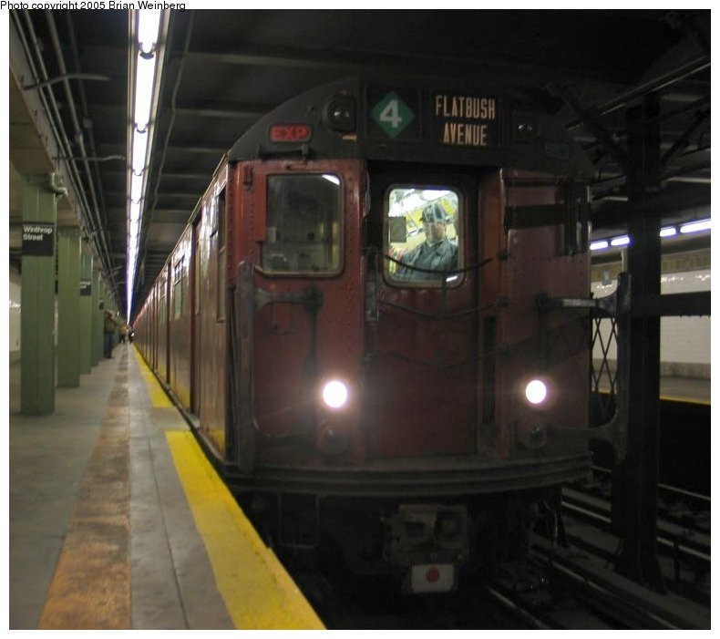 (80k, 790x701)<br><b>Country:</b> United States<br><b>City:</b> New York<br><b>System:</b> New York City Transit<br><b>Line:</b> IRT Brooklyn Line<br><b>Location:</b> Winthrop Street <br><b>Route:</b> Fan Trip<br><b>Car:</b> R-33 World's Fair (St. Louis, 1963-64) 9310 <br><b>Photo by:</b> Brian Weinberg<br><b>Date:</b> 12/21/2003<br><b>Viewed (this week/total):</b> 2 / 4376