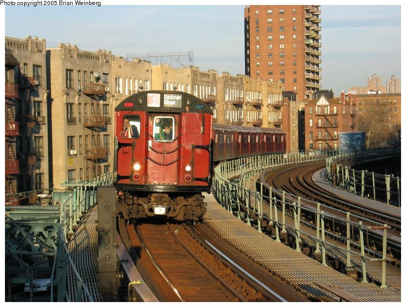 (148k, 820x620)<br><b>Country:</b> United States<br><b>City:</b> New York<br><b>System:</b> New York City Transit<br><b>Line:</b> IRT West Side Line<br><b>Location:</b> Dyckman Street <br><b>Route:</b> Fan Trip<br><b>Car:</b> R-33 World's Fair (St. Louis, 1963-64) 9309 <br><b>Photo by:</b> Brian Weinberg<br><b>Date:</b> 12/21/2003<br><b>Viewed (this week/total):</b> 2 / 3286