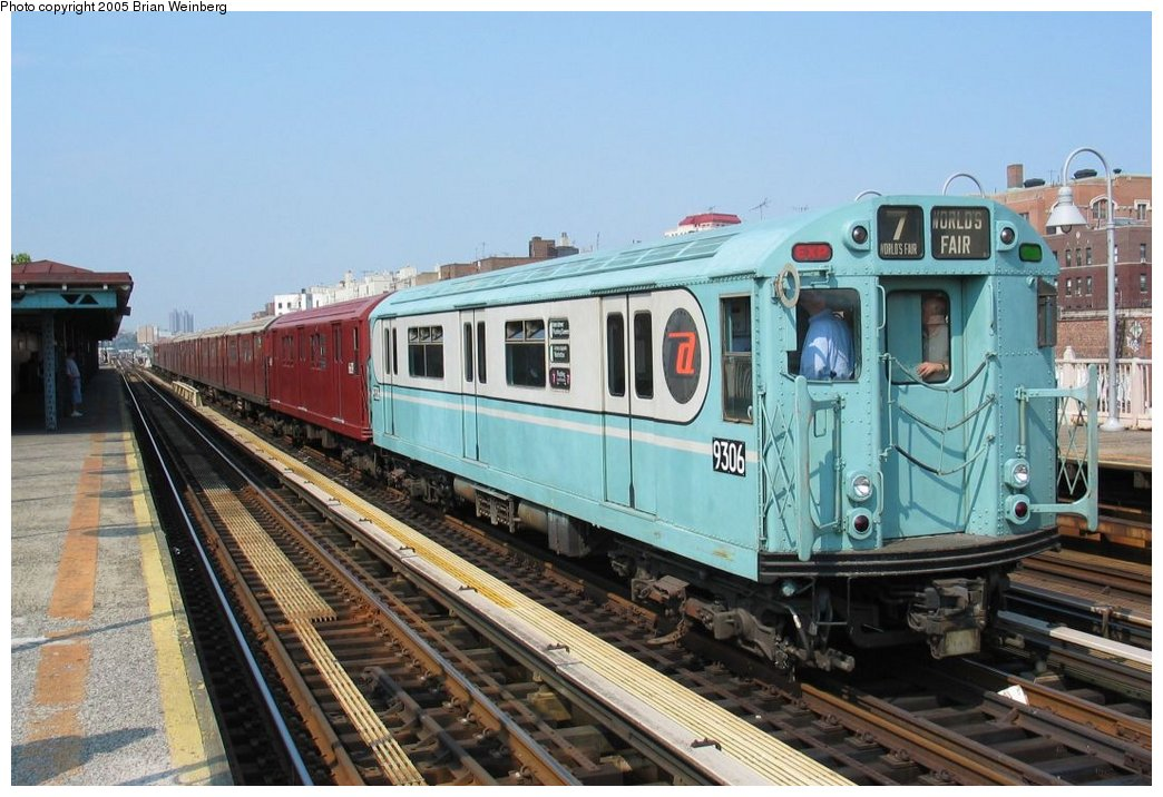 (165k, 1044x716)<br><b>Country:</b> United States<br><b>City:</b> New York<br><b>System:</b> New York City Transit<br><b>Line:</b> IRT Woodlawn Line<br><b>Location:</b> 170th Street <br><b>Route:</b> Fan Trip<br><b>Car:</b> R-33 World's Fair (St. Louis, 1963-64) 9306 <br><b>Photo by:</b> Brian Weinberg<br><b>Date:</b> 6/29/2003<br><b>Viewed (this week/total):</b> 1 / 2071