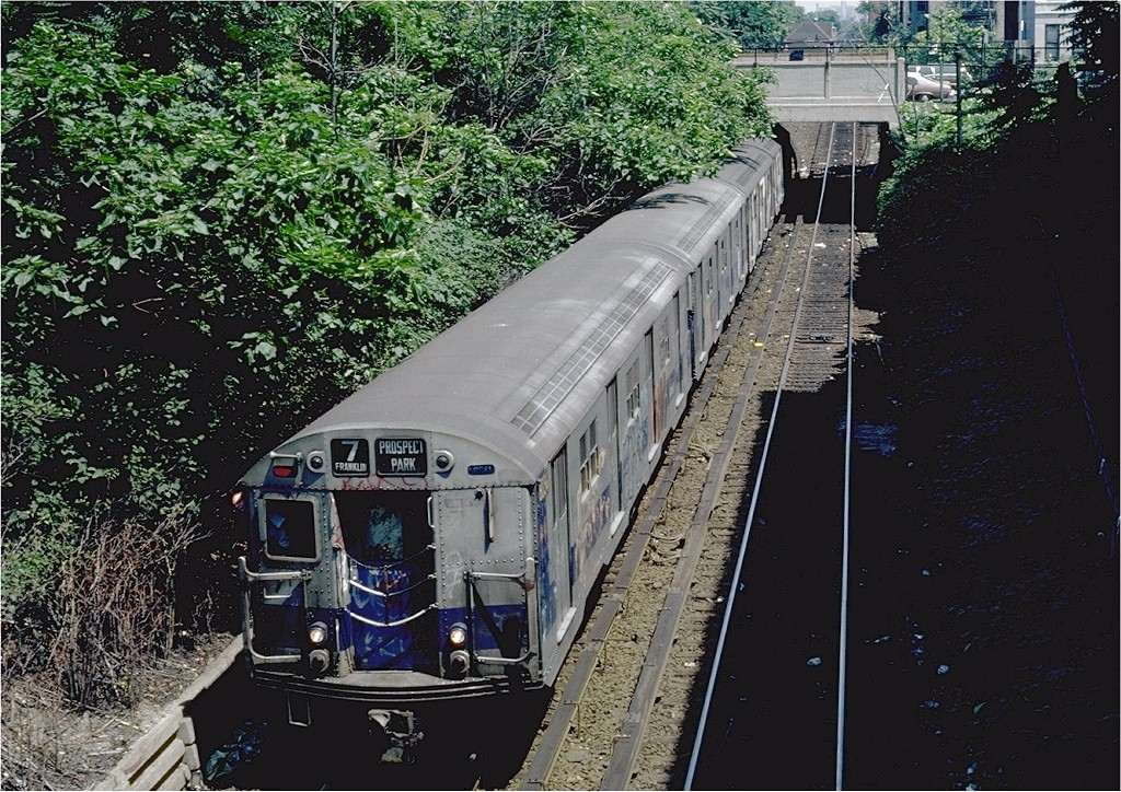 (313k, 1024x724)<br><b>Country:</b> United States<br><b>City:</b> New York<br><b>System:</b> New York City Transit<br><b>Line:</b> BMT Franklin<br><b>Location:</b> Botanic Garden <br><b>Route:</b> Franklin Shuttle<br><b>Car:</b> R-27 (St. Louis, 1960)  8034 <br><b>Photo by:</b> Steve Zabel<br><b>Collection of:</b> Joe Testagrose<br><b>Date:</b> 7/18/1981<br><b>Viewed (this week/total):</b> 1 / 3267