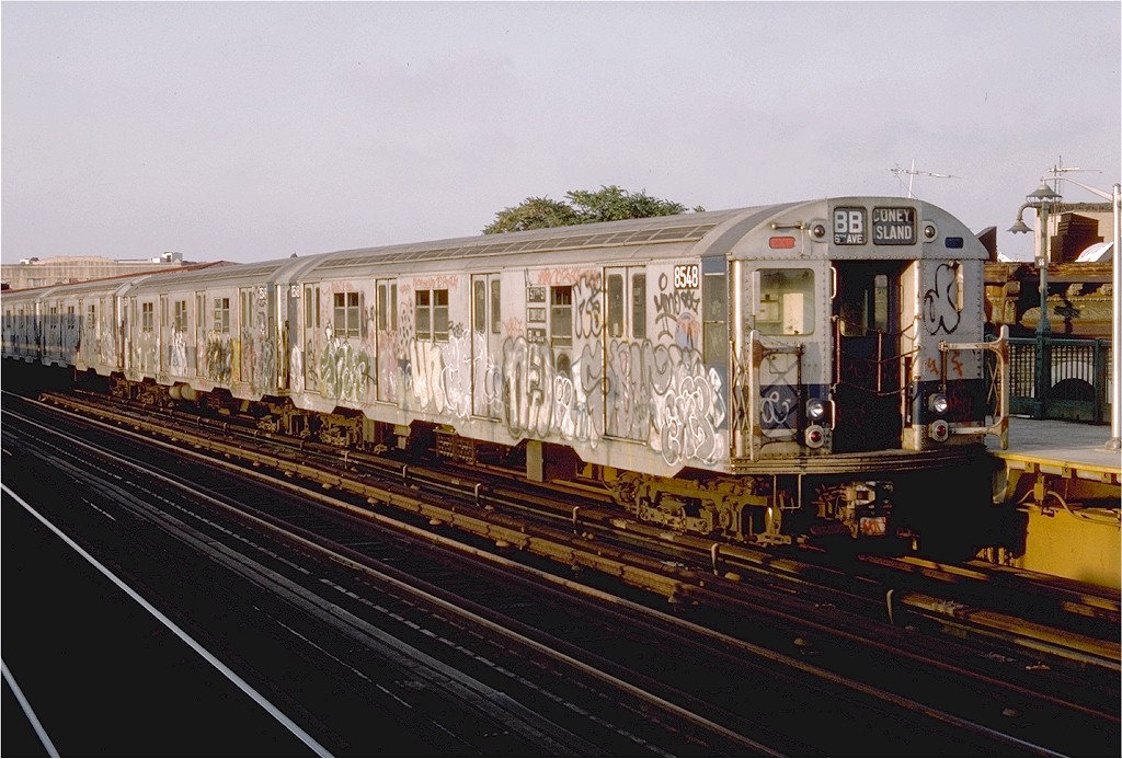 (203k, 1024x693)<br><b>Country:</b> United States<br><b>City:</b> New York<br><b>System:</b> New York City Transit<br><b>Line:</b> BMT West End Line<br><b>Location:</b> 55th Street <br><b>Route:</b> B<br><b>Car:</b> R-30 (St. Louis, 1961) 8548 <br><b>Photo by:</b> Doug Grotjahn<br><b>Collection of:</b> Joe Testagrose<br><b>Date:</b> 9/9/1976<br><b>Viewed (this week/total):</b> 1 / 2496