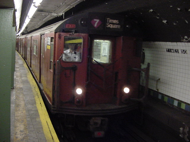 (61k, 640x480)<br><b>Country:</b> United States<br><b>City:</b> New York<br><b>System:</b> New York City Transit<br><b>Line:</b> IRT Flushing Line<br><b>Location:</b> Times Square <br><b>Route:</b> 7<br><b>Car:</b> R-36 World's Fair (St. Louis, 1963-64) 9580 <br><b>Photo by:</b> Salaam Allah<br><b>Date:</b> 9/17/2002<br><b>Viewed (this week/total):</b> 0 / 2539