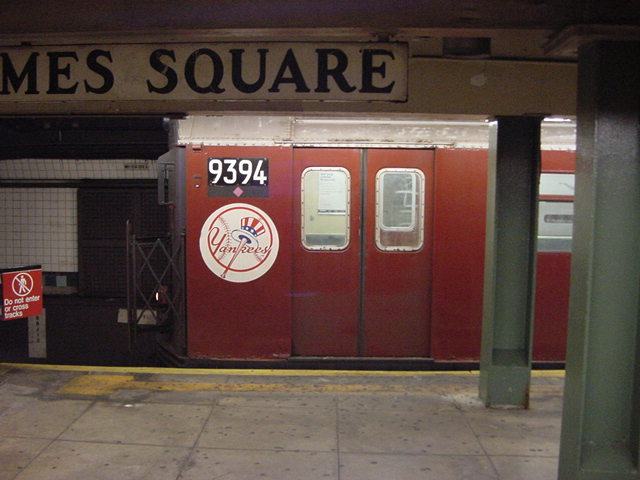(60k, 640x480)<br><b>Country:</b> United States<br><b>City:</b> New York<br><b>System:</b> New York City Transit<br><b>Line:</b> IRT Flushing Line<br><b>Location:</b> Times Square <br><b>Route:</b> 7<br><b>Car:</b> R-36 World's Fair (St. Louis, 1963-64) 9394 <br><b>Photo by:</b> Salaam Allah<br><b>Date:</b> 9/17/2002<br><b>Viewed (this week/total):</b> 5 / 3269