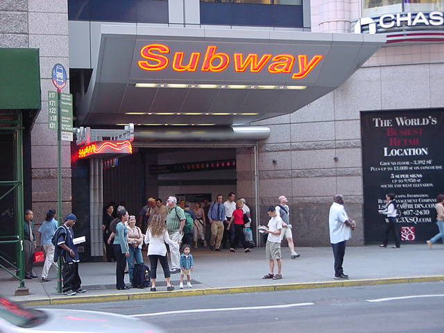 (59k, 640x480)<br><b>Country:</b> United States<br><b>City:</b> New York<br><b>System:</b> New York City Transit<br><b>Line:</b> IRT West Side Line<br><b>Location:</b> Times Square/42nd Street <br><b>Photo by:</b> Salaam Allah<br><b>Date:</b> 9/19/2002<br><b>Notes:</b> Station entrance, 42nd St. east of 7th Ave.<br><b>Viewed (this week/total):</b> 7 / 2054
