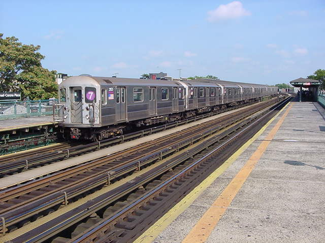 (60k, 640x480)<br><b>Country:</b> United States<br><b>City:</b> New York<br><b>System:</b> New York City Transit<br><b>Line:</b> IRT Flushing Line<br><b>Location:</b> 103rd Street/Corona Plaza <br><b>Route:</b> 7<br><b>Car:</b> R-62A (Bombardier, 1984-1987)  2053 <br><b>Photo by:</b> Salaam Allah<br><b>Date:</b> 9/24/2002<br><b>Viewed (this week/total):</b> 3 / 2035